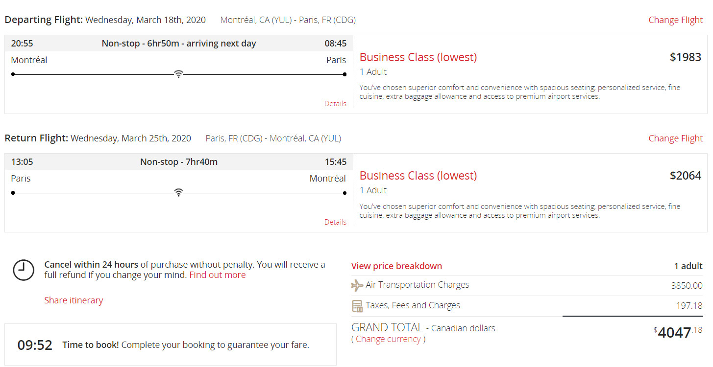 Air Canada business class cost