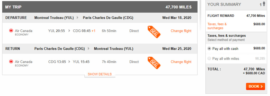 Sample Aeroplan redemption on Air Canada