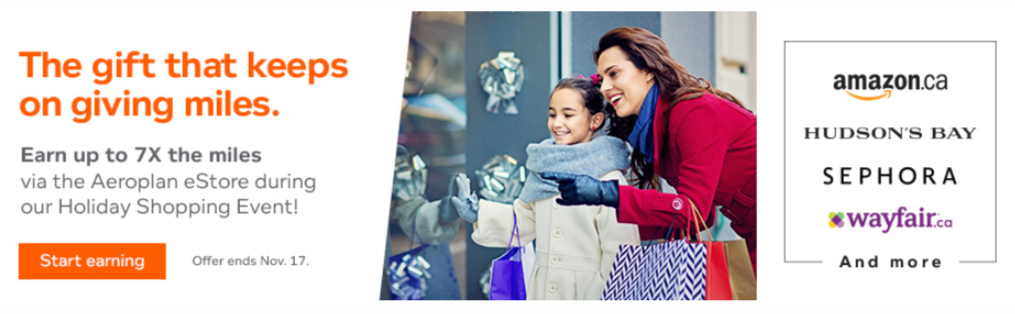Aeroplan e-store holiday shopping promotion